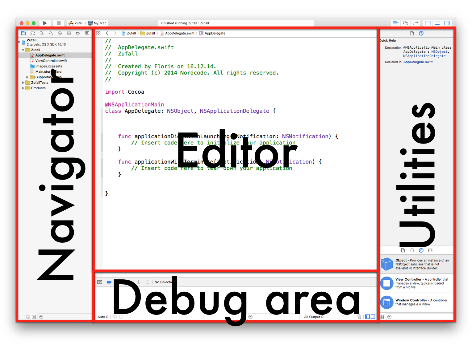 Abbildung 2.1: Das Xcode Fenster